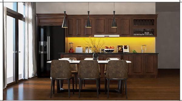 Mẫu nội thất phòng bếp gỗ tự nhiên chữ I óc chó
