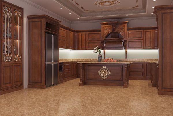 Mẫu thiết kế nội thất phòng bếp gỗ tự nhiên gỗ óc chó