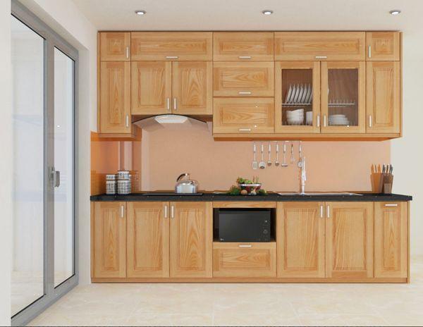 Tủ bếp gỗ tự nhiên hiện đại, trang nhã