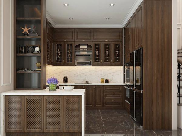 Mẫu nội thất phòng bếp gỗ tự nhiên chữ L 04