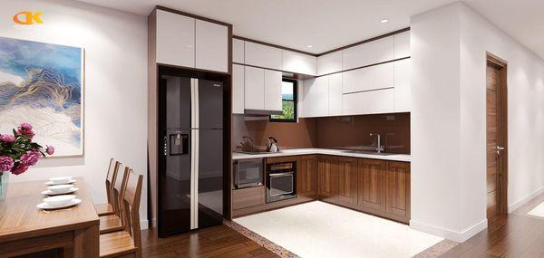 Mẫu nội thất phòng bếp màu gỗ óc chó