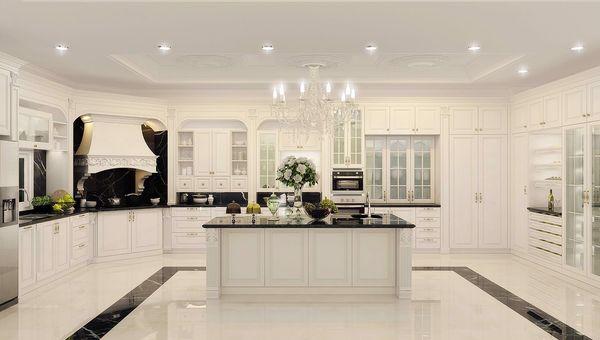 Thiết kế nội thất phòng bếp gỗ tự nhiên phong cách tân cổ điển 09