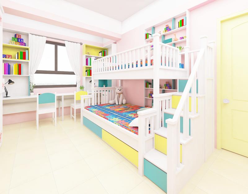 Trang trí màu sắc trong nội thất phòng ngủ trẻ em