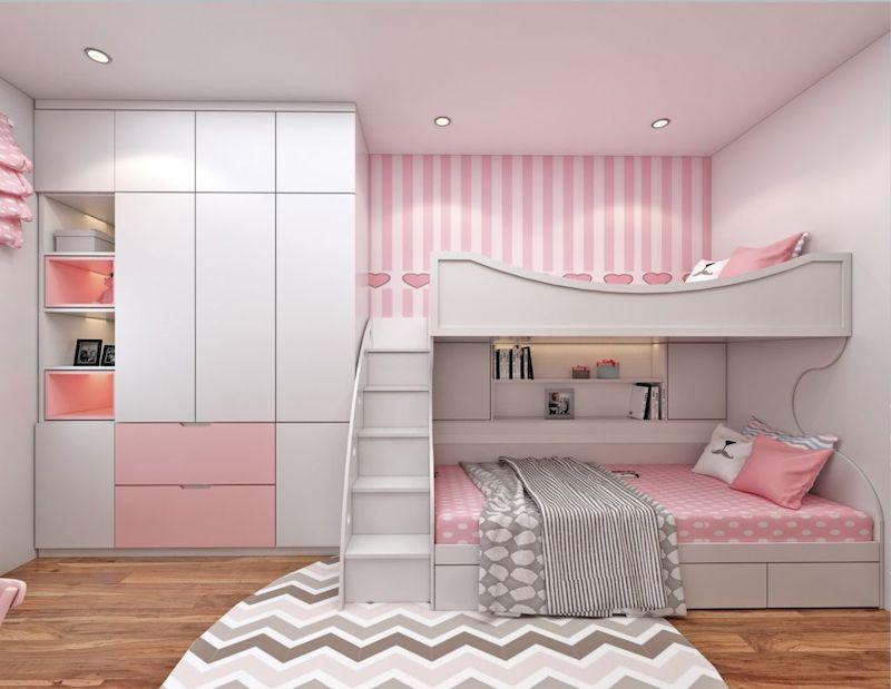 Thiết kế nội thất phòng ngủ trẻ em màu hồng