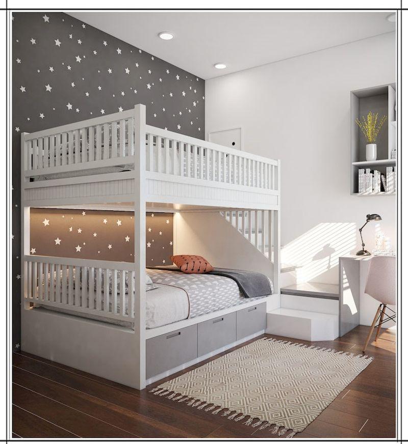 Mẫu giường tầng gỗ công nghiệp cho phòng ngủ trẻ em