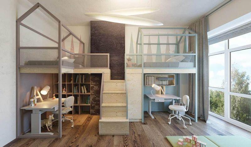 Nội thất phòng ngủ trẻ emvới giường tầng kết hợp bàn học