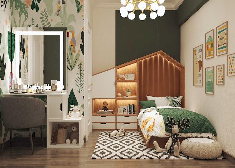 Thiết kế nội thất phòng ngủ trẻ em màu xanh lá