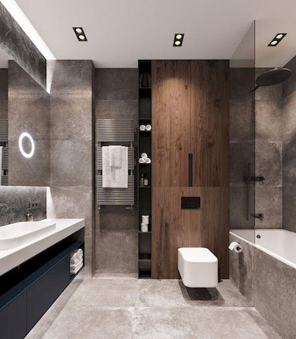 Mẫu phòng tắm gỗ óc chó đẹp