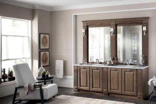 Thiết kế phòng tắm gỗ óc chó sang trọng và cao cấp