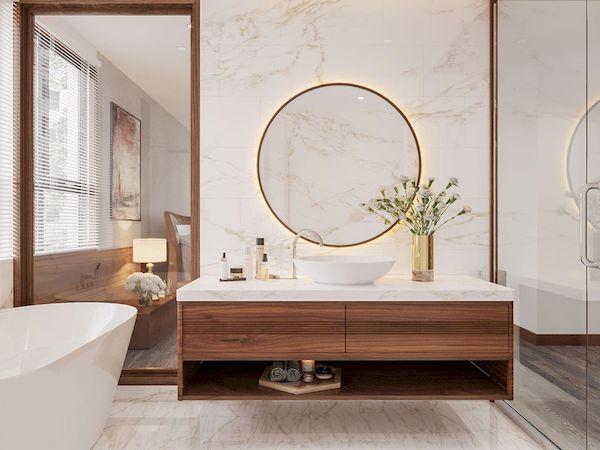 Thiết kế phòng tắm màu gỗ óc chó hiện đại