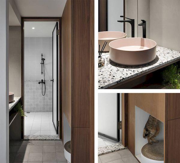 Nội thất và thiết bị trong phòng tắm đơn giản