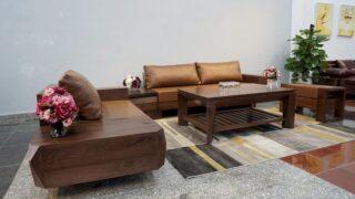 Sofa gỗ sồi sơn màu óc chó 8