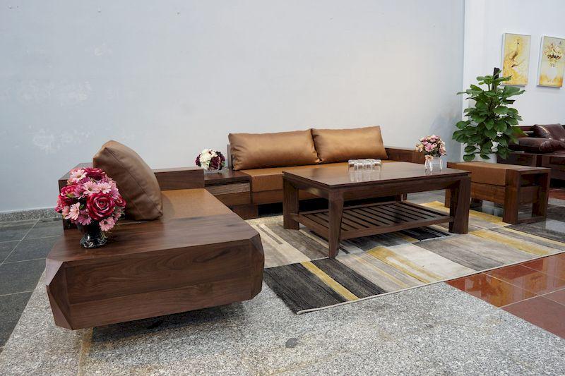 Sofa gỗ sồi sơn màu óc chó 3