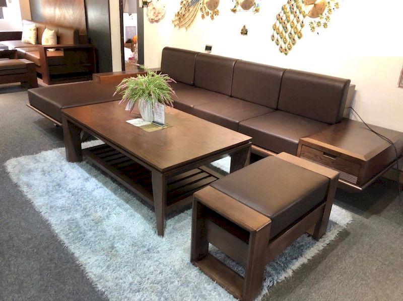 Sofa gỗ sồi sơn màu óc chó phù hợp với hầu hết các phong cách nội thất phổ biến