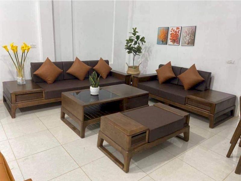 Vì sao nên sử dụng sofa gỗ sồi sơn màu óc chó cho phòng khách?