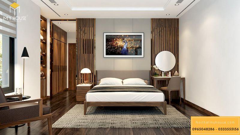 Thiết kế nội thất biệt thự Ciputra - phòng ngủ master óc chó