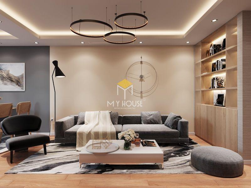 Thiết kế nội thất chung cư Times City 90m2 - bộ sofa phòng khách