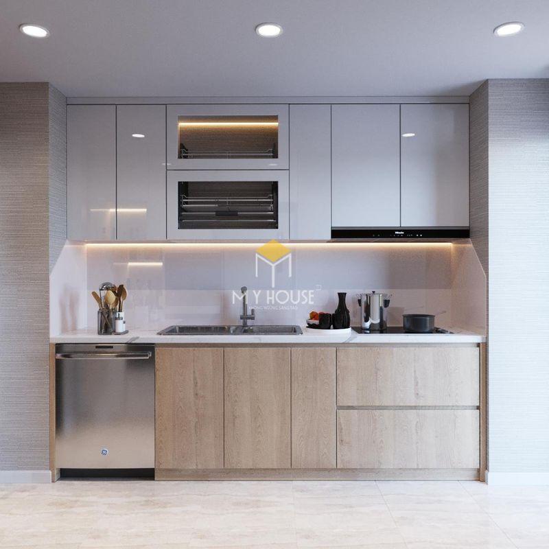 Thiết kế nội thất chung cư Times City - Tủ bếp chữ I đơn giản cho phòng bếp nhỏ hẹp