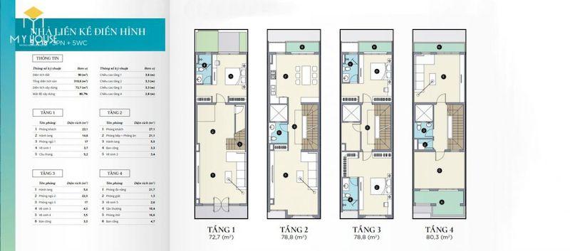 Mặt bằng của nhà liền kề Ecopark 1 phòng khách bếp, 3 phòng ngủ