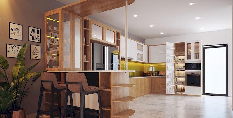 Tủ bếp quầy bar gỗ sồi