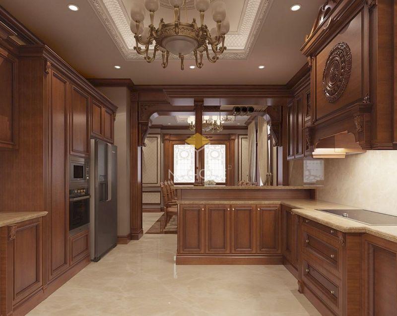 Mẫu tủ bếp có quầy bar gỗ tự nhiên 05