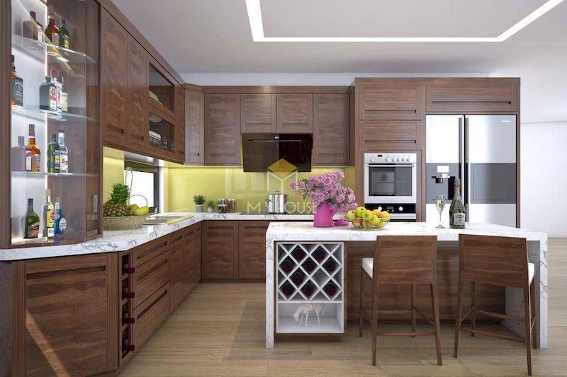 Tủ bếp kết hợp đảo bếp, tủ rượu đa năng