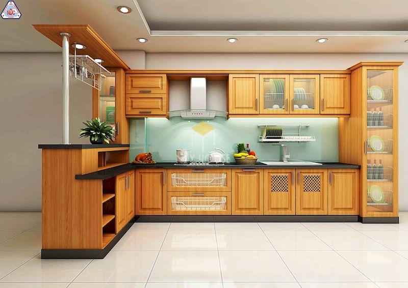 Tủ bếp có quầy bar gỗ tự nhiên gỗ sồi
