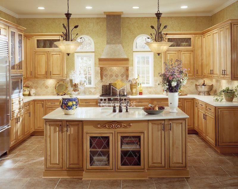 mẫu tủ bếp có quầy bar gỗ tự nhiên tân cổ điển
