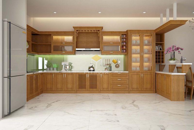 Thiết kế quầy bar kết hợp tủ bếp chữ L gỗ tự nhiên