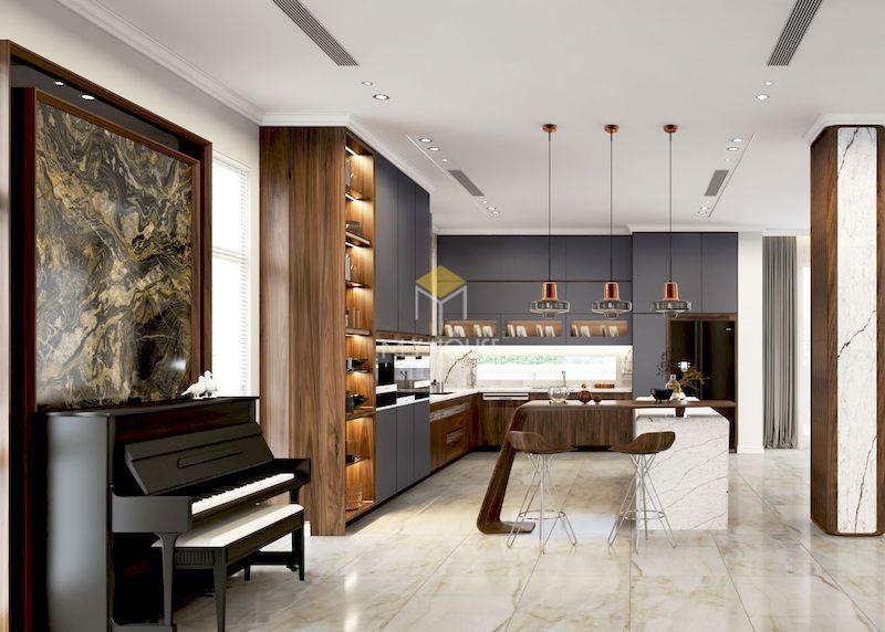 Vì sao nên thiết kế tủ bếp có quầy bar gỗ tự nhiên?