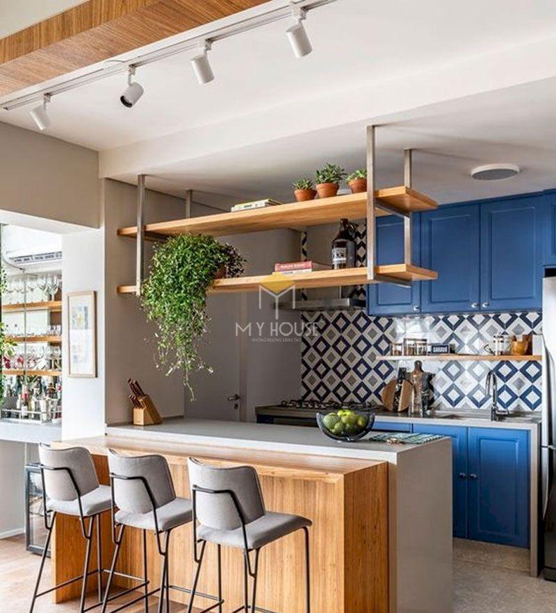 Mẫu quầy bar hiện đại kết hợp phòng bếp