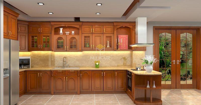 mẫu tủ bếp có quầy bar gỗ tự nhiên hiện đại