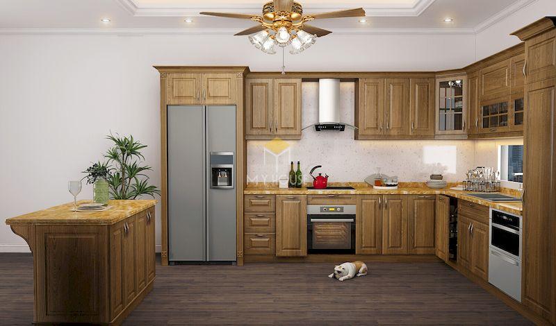 Mẫu tủ bếp gỗ tự nhiên gỗ tự nhiên