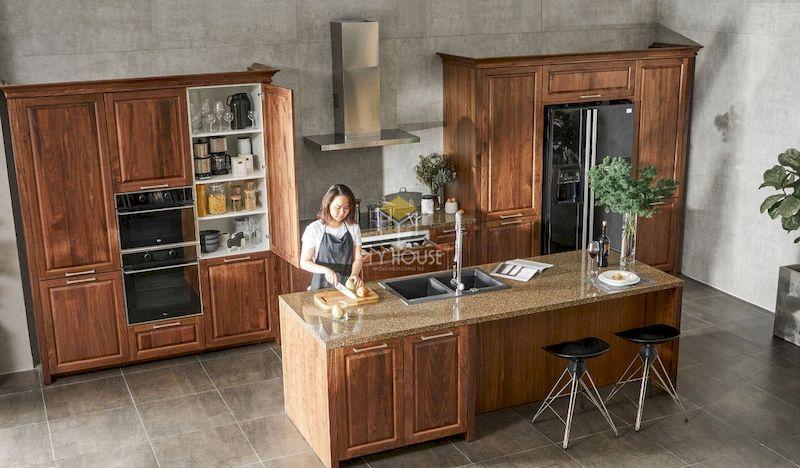 Tủ bếp có quầy bar gỗ tự nhiên 3