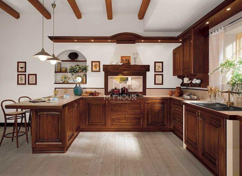 Mẫu tủ bếp gỗ tự nhiên chữ U