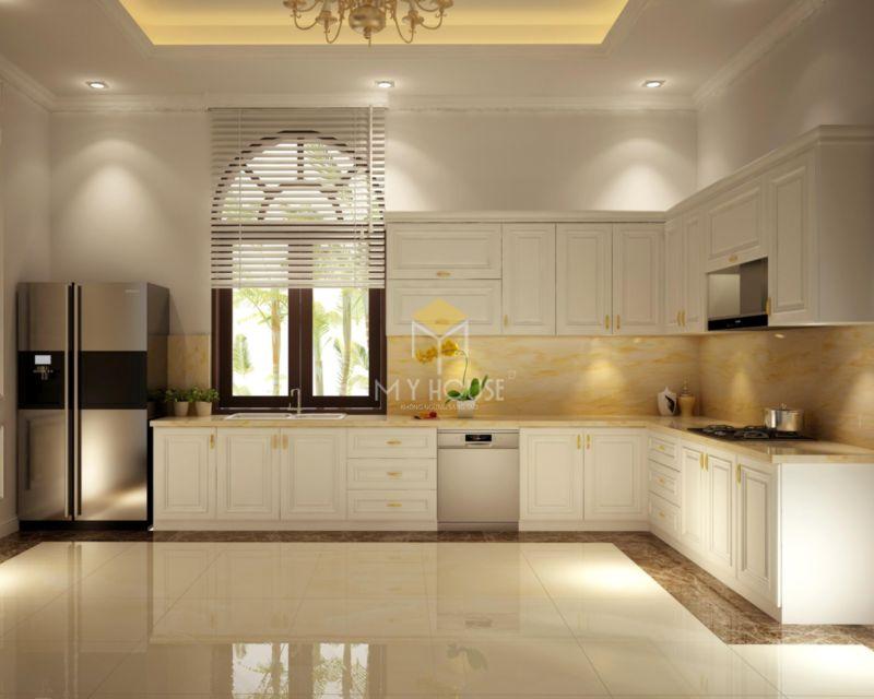 Tủ bếp tân cổ điển gỗ công nghiệp sơn màu trắng sang trọng