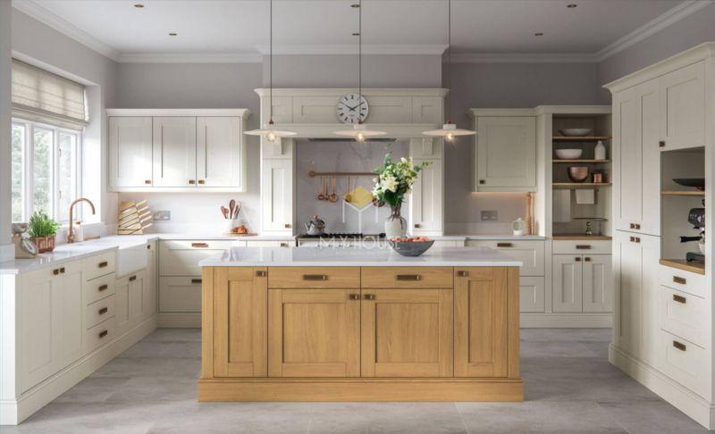 Tủ bếp tân cổ điển thường có kích thước lớn, rộng và đẩy đủ tiện nghi cho người sử dụng