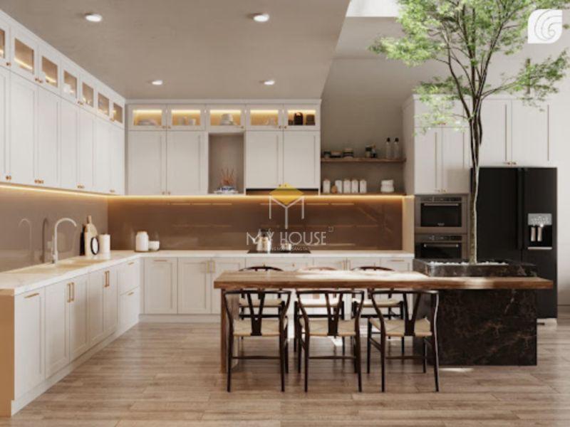 Tủ bếp tân cổ điển có thể kết hợp với nhiều phong cách nội thất khác nhau