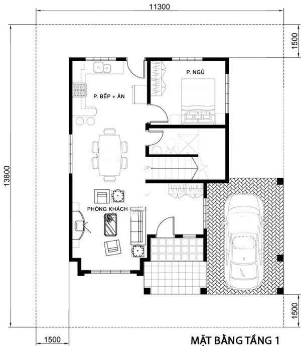 Bản vẽ biệt thự 2 tầng mái thái - Mặt bằng tầng 1 với phòng khách bếp liên thông tiết kiệm diện tích
