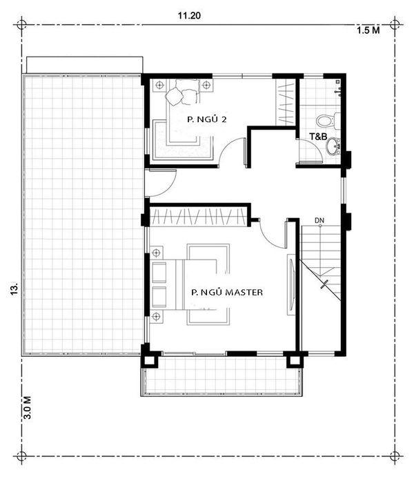 Bản vẽ biệt thự 2 tầng mái thái - Mặt bằng tầng 2 đơn giản