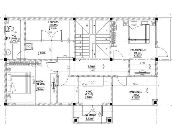 Bản vẽ biệt thự 2 tầng mái thái - Mặt bằng tầng 2 biệt thự tân cổ điển
