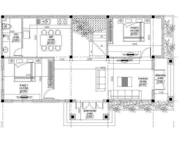 Bản vẽ biệt thự 2 tầng mái thái - Mặt bằng tầng 1 biệt thự tân cổ điển