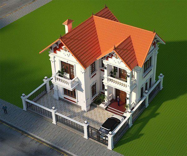 Bản vẽ biệt thự 2 tầng mái thái - Biệt thự tân cổ điển