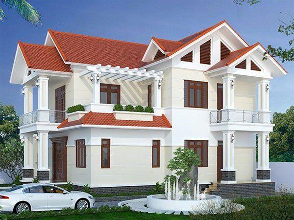 Bản vẽ biệt thự 2 tầng mái thái - Biệt thự thiết kế truyền thống và đơn giản với màu trắng và màu đỏ
