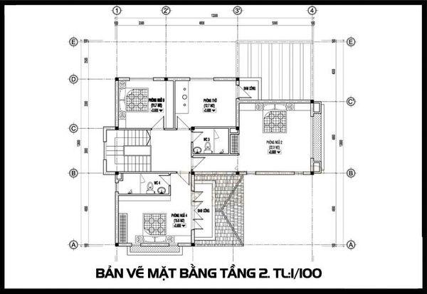 Bản vẽ biệt thự 2 tầng mái thái - Mặt bằng tầng 2