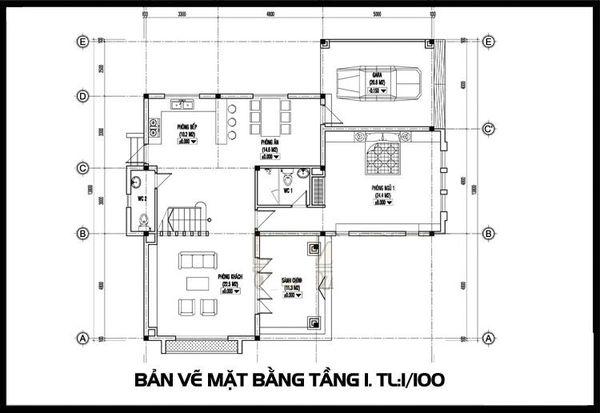 Bản vẽ biệt thự 2 tầng mái thái - Mặt bằng tầng 1