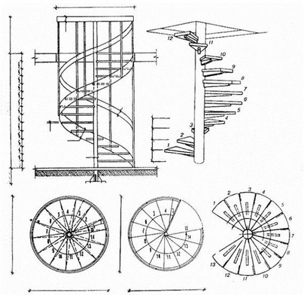 Bản vẽ cầu thang 21 bậc xoắn ốc 06