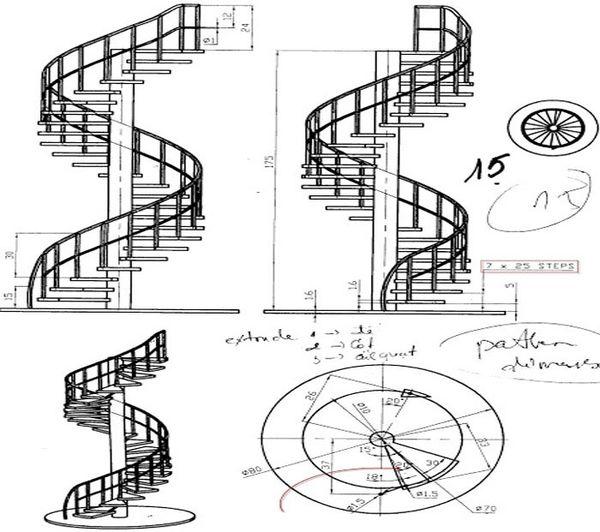 Bản vẽ cầu thang 21 bậc 08