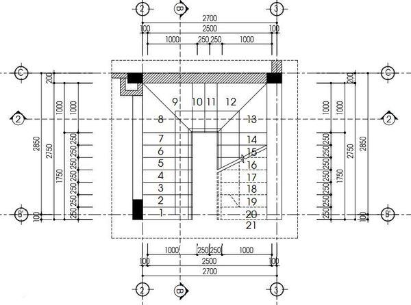 Bản vẽ cầu thang 21 bậc 02