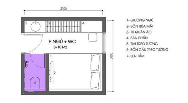 Bản vẽ phòng ngủ 12m2 04